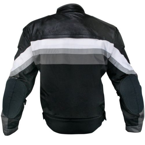 Men's Armored Black and Grey Tri-Tex Fabric and Leather Trim Jacket with Level-3 Advanced Armor and Kevlar Protection